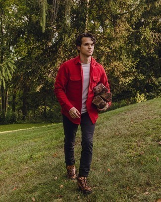 Red Flannel Long Sleeve Shirt Outfits For Men: If you're after a relaxed casual but also on-trend getup, make a red flannel long sleeve shirt and charcoal chinos your outfit choice. If you want to easily tone down this outfit with a pair of shoes, why not complement this outfit with a pair of tan leather work boots?