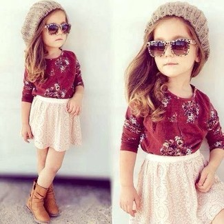 How to wear: red long sleeve t-shirt, white lace skirt, tan boots, beige beanie