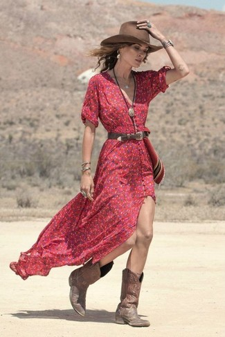 How to wear: red floral maxi dress, brown leather cowboy boots, brown wool hat, dark brown leather belt