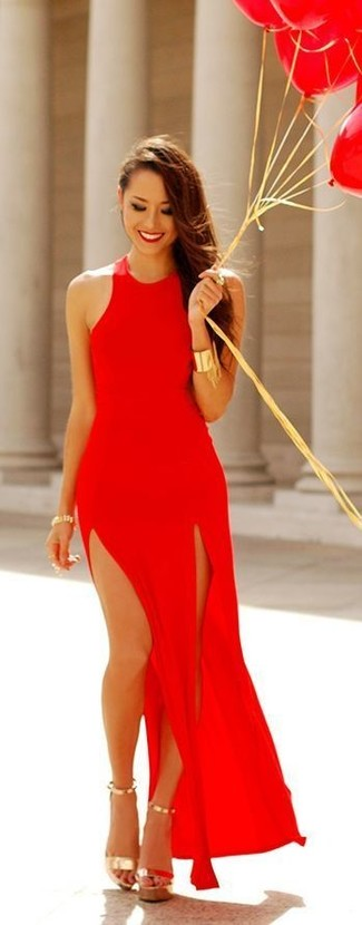 Go for a red cutout maxi dress to create a great weekend-ready look. Gold leather heeled sandals will add a touch of polish to an otherwise low-key look. We can't get enough of this look for warm weather days.