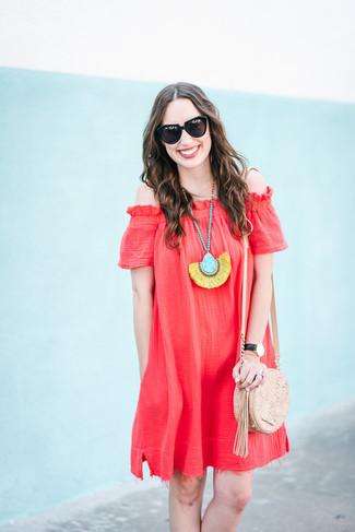 Women's Red Off Shoulder Dress, Beige Leather Crossbody Bag, Multi colored Pendant