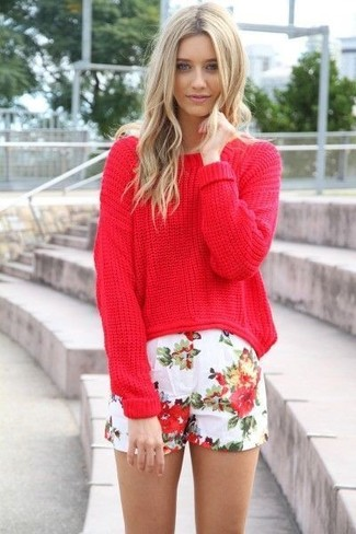 Wear a red oversized sweater with white floral shorts for a lazy Sunday brunch. You can bet this look will become your uniform when summer settles in.