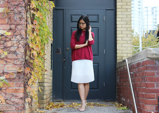How to wear: red oversized sweater, white pleated midi skirt, beige leather heeled sandals