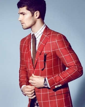 How to wear: red plaid blazer, white and red and navy plaid long sleeve shirt, brown knit tie