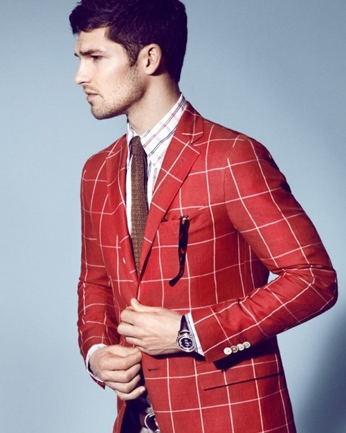 Discover men's plaid blazers and find your outfit inspiration. Plaid Blazers. Men's Charcoal Plaid Wool Blazer, White Dress Shirt, Black Dress Pants, Black and White Polka Dot Tie Tap into refined, elegant style with a charcoal plaid wool sportcoat and black dress pants.