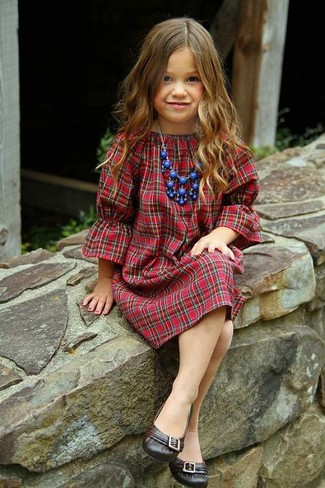 How to Wear Dark Brown Ballet Flats For Girls: Consider dressing your little angel in red plaid dress to create a smart casual look. As for footwear your darling will love dark brown ballet flats for this getup.