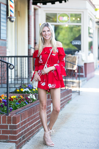 How to wear: red floral playsuit, beige suede wedge sandals, white leather crossbody bag, gold bracelet