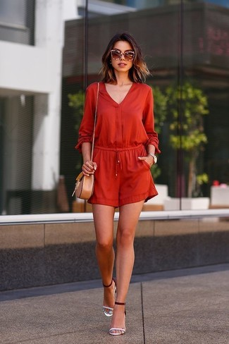 How to wear: red playsuit, white and black leather heeled sandals, tan leather crossbody bag, brown sunglasses
