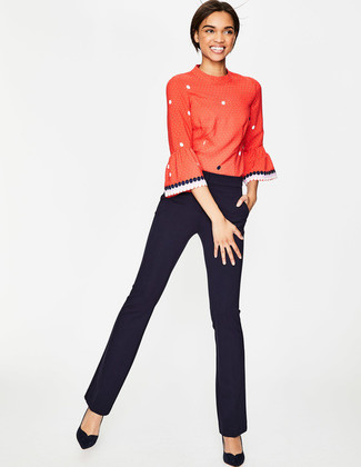 How to wear: red polka dot long sleeve t-shirt, black dress pants, black suede pumps