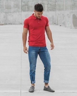 Blue Jeans with Red Polo Outfits For Men: A red polo and blue jeans have become a favorite combo for many sartorial-savvy gents. Our favorite of a great number of ways to complete this getup is grey canvas slip-on sneakers.