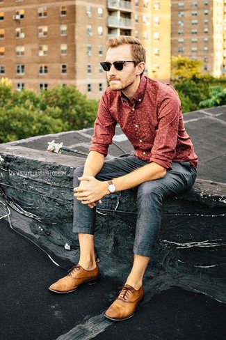 How to wear: red print long sleeve shirt, charcoal dress pants, tan leather oxford shoes