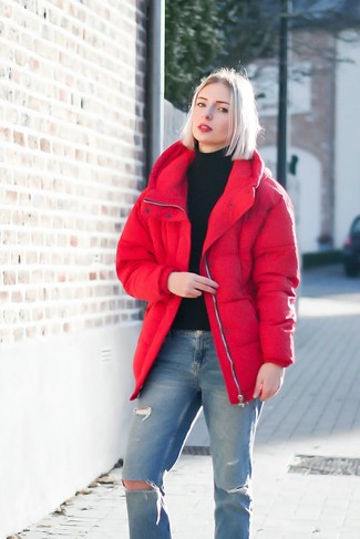 How to wear: red puffer jacket, black turtleneck, blue ripped jeans