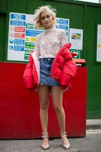 Floral Print Crop Puffer Jacket