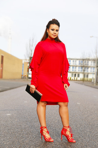 How to wear: red ruffle shift dress, red suede heeled sandals, black clutch