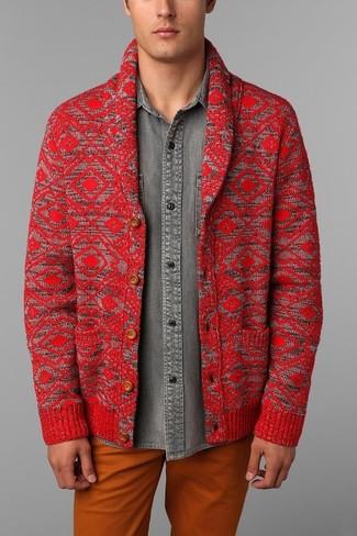 How to wear: red shawl cardigan, grey denim shirt, orange chinos