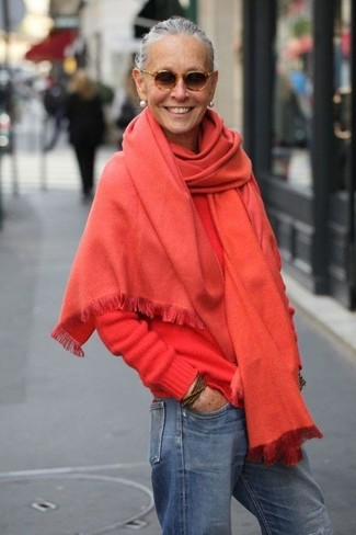 How to wear: red shawl, red crew-neck sweater, blue boyfriend jeans