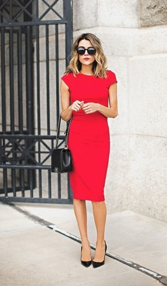 Consider wearing a red fitted dress to feel confidently and look fashionably. Finish off your look with black leather pumps.