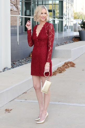 How to wear: red lace sheath dress, gold leather pumps, gold leather clutch, gold bracelet