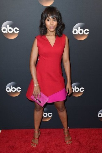 How to wear: red sheath dress, red satin heeled sandals, hot pink suede clutch