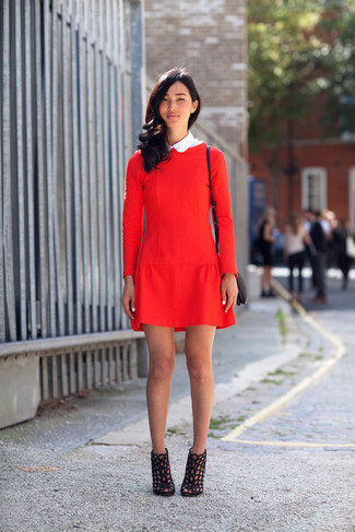 How to wear: red shift dress, black cutout leather ankle boots, black leather crossbody bag
