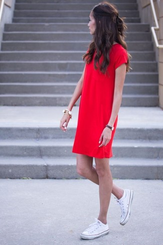 How to wear: red shift dress, white canvas low top sneakers, white bracelet