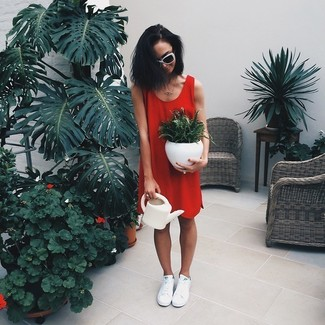 How to wear: red shift dress, white low top sneakers, white and black sunglasses
