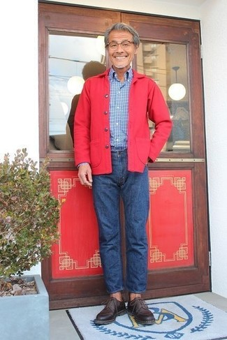 How to wear: red shirt jacket, blue check long sleeve shirt, blue jeans, dark brown leather derby shoes
