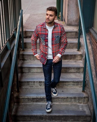 Men's Red Plaid Shirt Jacket, White Crew-neck Sweater, Navy Jeans, Navy Canvas Low Top Sneakers