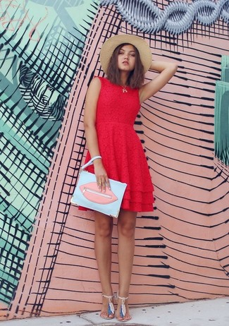 Step up your off-duty look in a red lace skater dress. Cream thong sandals will add a new dimension to an otherwise classic ensemble. A killer outfit like this one is just what you need on a warm warm weather afternoon.