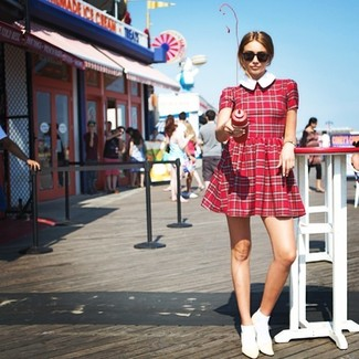 3e3e4a42a66 How to wear Asos Maternity Smock Dress With Plaid Check With Collar