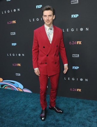 How to wear: red suit, white print dress shirt, dark purple leather oxford shoes