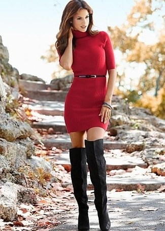 Step up your off-duty look in a sweater dress. Complement this look with black suede over the knee boots.