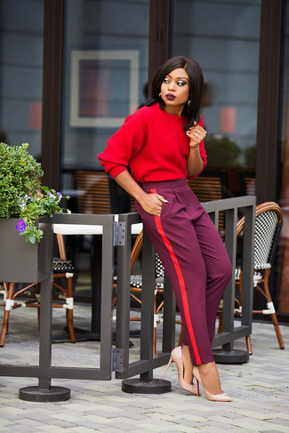 How to wear: red sweatshirt, purple tapered pants, beige leather pumps