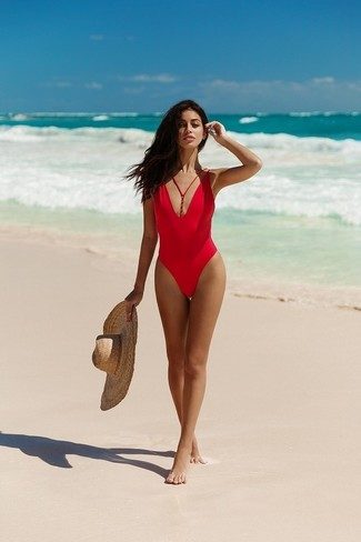 How to wear: red swimsuit, khaki straw hat
