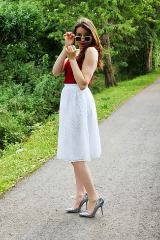 How to wear: red tank, white pleated midi skirt, silver sequin pumps, black and white sunglasses