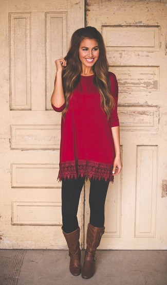 A red tunic and black leggings is a wonderful combination worth integrating into your wardrobe. Dark brown leather knee high boots will instantly smarten up even the laziest of looks.