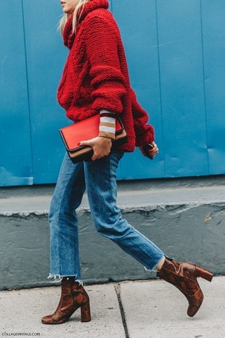 How to wear: red knit turtleneck, blue jeans, brown snake leather ankle boots, red leather clutch