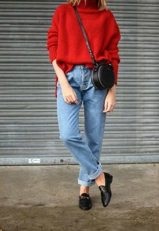Black Leather Loafers Outfits For Women: This off-duty pairing of a red knit turtleneck and light blue jeans comes in handy when you need to look chic but have no time. Want to break out of the mold? Then why not make black leather loafers your footwear choice?