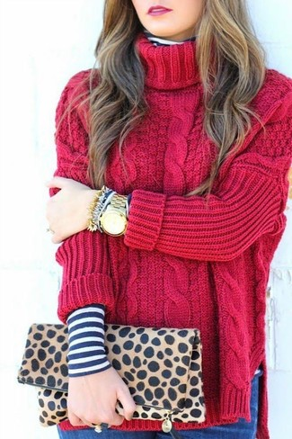 Women's Red Knit Turtleneck, Navy and White Horizontal Striped Turtleneck, Tan Leopard Suede Clutch, Gold Watch