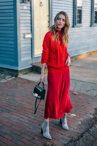 How to wear: red knit turtleneck, red midi skirt, grey suede ankle boots, black leather crossbody bag