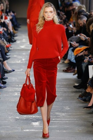 How to wear: red knit turtleneck, red velvet pencil skirt, red leather pumps, red leather tote bag