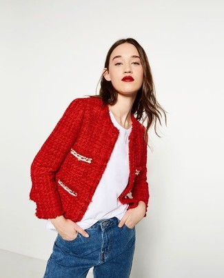 Women's Red Tweed Jacket, White Crew-neck T-shirt, Blue Jeans