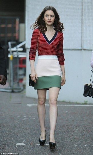 How to wear: red print v-neck sweater, multi colored mini skirt, black chunky leather pumps, black leather crossbody bag