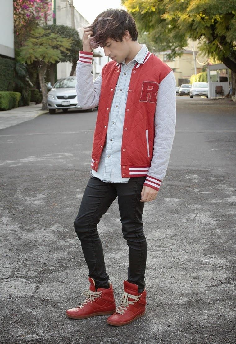 red-varsity-jacket-and-light-blue-denim-shirt-and-black ...