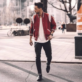 How to wear: red varsity jacket, white crew-neck t-shirt, black skinny jeans, black leather chelsea boots