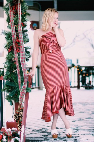 How to wear: red vertical striped midi dress, white leather mules