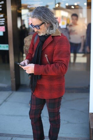 Red Plaid Pants Chill Weather Outfits For Men: If you love off-duty style, why not try this combination of a red check wool shirt jacket and red plaid pants?