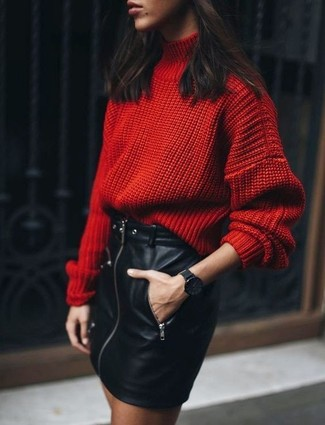 How to wear: red knit wool turtleneck, black leather mini skirt, black watch