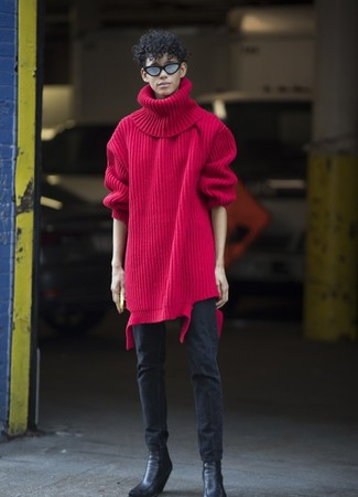How to wear: red knit wool turtleneck, black skinny jeans, black leather chelsea boots