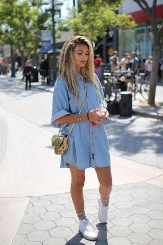 Robe chemise en jean clair
